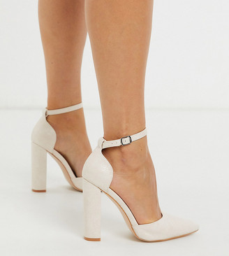 Public Desire Wide Fit Sofia heeled shoe in white croc