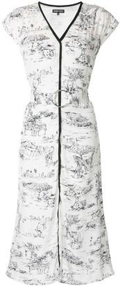Markus Lupfer Safari Print Midi Dress