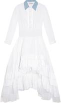 Natasha Zinko Denim-collar swiss-dot cotton ruffled dress