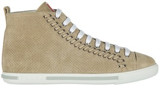 Prada High Top Suede Sneakers