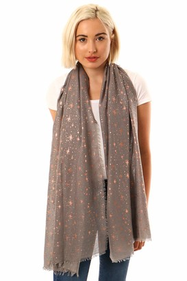 Style Slice Evening Star Sparkle Scarves   for Women   Lightweight Shawl   Wedding Foil Print Scarf Wrap   Stars and Moons   Birthday gifts for her   Present for mum   Mothers Day   Prime