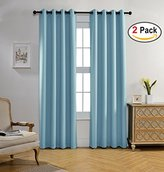 Miuco Room Darkening Textured Grommet Thermal Insulated Blackout Curtains for Kids Room 2 Panels 52x95 Inch Long Sky Blue