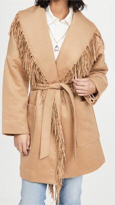 Divine Heritage Shawl Collar Fringe Coat