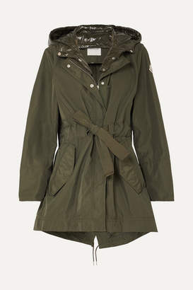 Moncler Hooded Gabardine And Glossed-shell Jacket - Army green