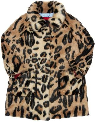 Mi Mi Sol Leo Print Faux Fur Coat