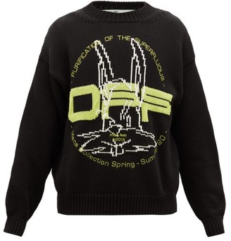 Off-White Logo-jacquard Cotton-blend Sweater - Black