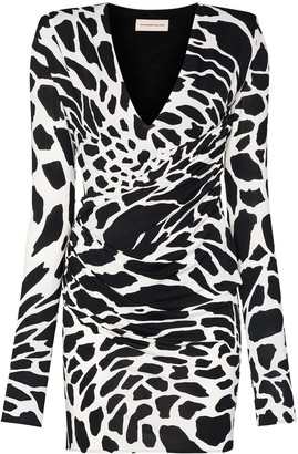 Alexandre Vauthier Animal-Print Wrap Mini Dress