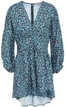 Lela Rose Gathered Floral-print Twill Blouse