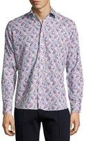 Etro Paisley-Print Cotton Shirt, Navy/White/Magenta