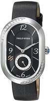 Philip Stein Teslar Women's 'Modern' Swiss Quartz Stainless Steel and Leather Dress Watch, Color:Black (Model: 74SD-FDB-IB)