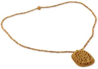 Novica Handmade Kadam Wood 'Elephant Shadow' Necklace