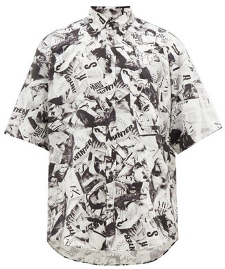 Balenciaga Magazine Print Satin Shirt - Mens - Black White