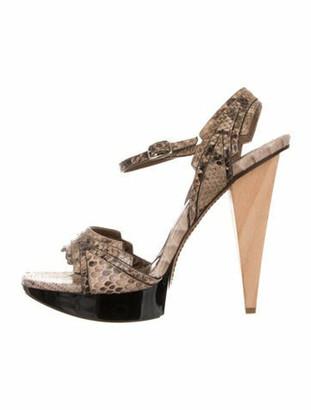 Marni Snakeskin Slingback Sandals Olive