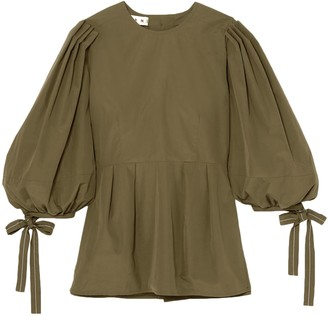 Marni Pleated Cotton-poplin Peplum Shirt