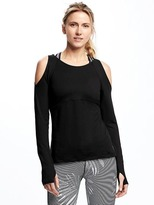 Old Navy Go-Dry Fitted Cold-Shoulder Top for Women