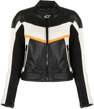 Diesel Colour-Block Leather Biker Jacket