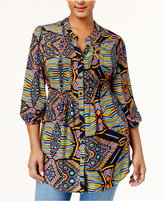 Melissa McCarthy Trendy Plus Size Geo-Print Tie-Back Blouse