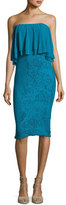 Fuzzi Ruffled Off-the-Shoulder Stretch-Lace Sheath Dress, Turquoise