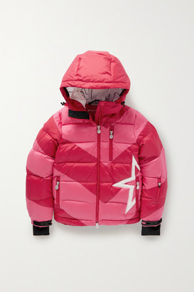 Perfect Moment Kids - Ages 6 - 12 Super Moto Hooded Striped Quilted Ripstop Down Ski Jacket