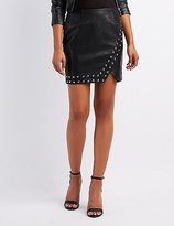 Charlotte Russe Studded Faux Leather Mini Skirt