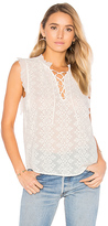 Rebecca Taylor Sleeveless Florence Embroidered Top in White