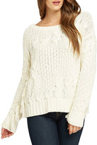 Bobeau Cable-Knit Sweater w/ Fringe, Cream