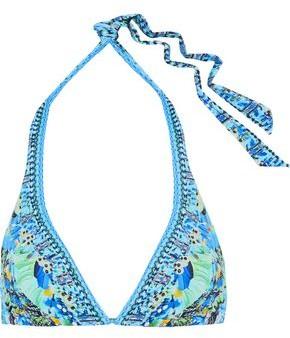 Camilla Embellished Printed Triangle Bikini Top