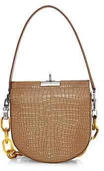 GU DE Women's Small Demilune Croc-Embossed Leather Crossbody Bag