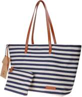 Canvas Tote Bag ZLYC Stripe Beach Bag Women Large Shoulder Bag Leather Top Handle Handbag Casual Purse