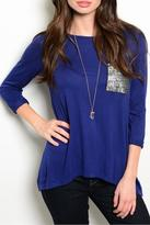 Color Thread Blue Sequin Top