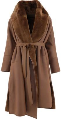Max Mara Atelier Reversible Leather Wrap Coat