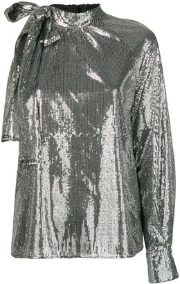 MSGM One Sleeve Sequin Top