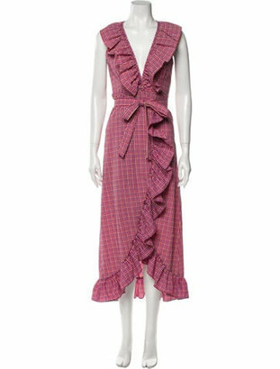 MISA Plaid Print Midi Length Dress w/ Tags Pink Plaid Print Midi Length Dress w/ Tags