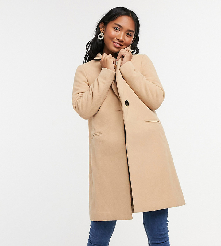 New Look Petite button front formal coat in camel