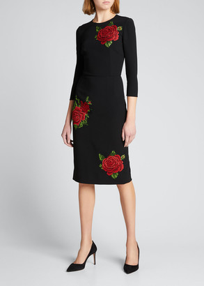 Dolce & Gabbana Rose Embroidered 3/4-Sleeve Sheath Dress