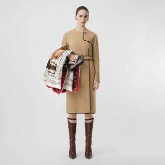 Burberry Lambskin Trim Technical Wool Belted Dress