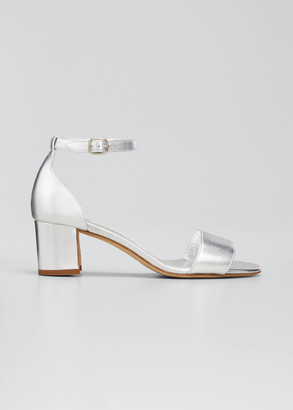 Manolo Blahnik 50mm Lauratomod Metallic Block-Heel Sandals