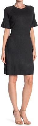 Calvin Klein Ribbed Ruffle Sleeve Sweater Dress