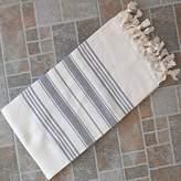 Pool' Natural & Gray Turkish Towel Peshtemal - 100% Natural Dyed Cotton - for Beach Spa Bath Swimming Pool Hammam Sauna Yoga Pilates Fitness Gym Picnic Blanket (Dandelion Textile)