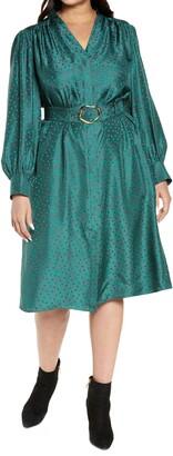 Lafayette 148 New York Clementine Belted Long Sleeve Silk Midi Shirtdress