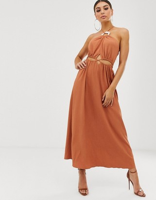 Asos Design DESIGN halter neck cut out maxi dress with trim detail-Brown