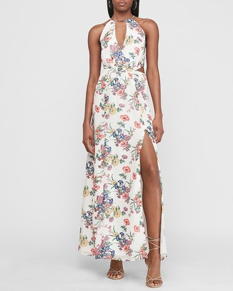 Express Floral Side Cut-Out Halter Maxi Dress