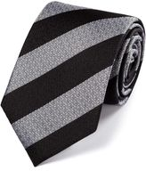 Charles Tyrwhitt Black and White Silk Block Stripe Classic Tie