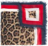 Gucci leopard Web trim print shawl