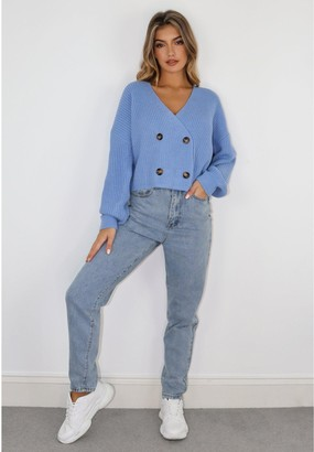 Missguided Double Breasted Cardigan - Blue