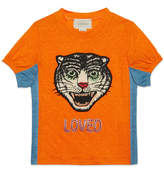 Gucci Children's linen T-shirt with feline head