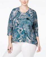 Melissa McCarthy Plus Size Swirl-Print Ponte Top