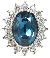 Kenneth Jay Lane Large Crystal & Sapphire Oval Flower Ring