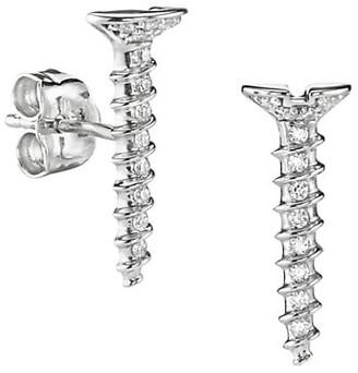 Sydney Evan 14K White Gold & Diamond Long Screw Single Stud Earring