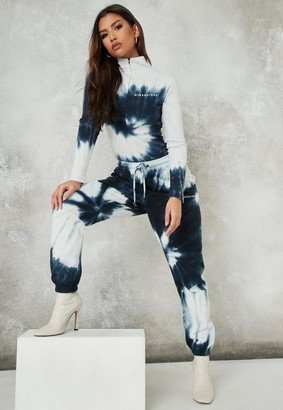 Missguided Navy Tie Dye Brushed Back Oversized 90S Joggers